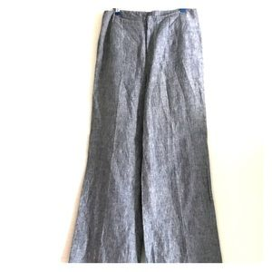 Wide-Leg 100% Linen Blue Jean Trousers